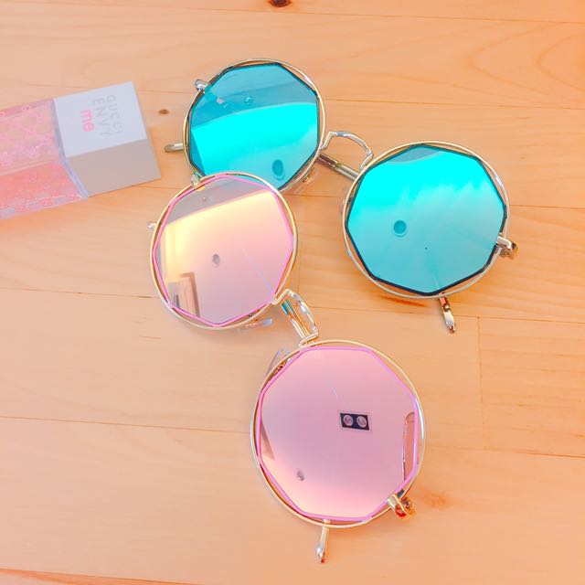 NG復古反光太陽眼鏡(藍)#太陽眼鏡出清