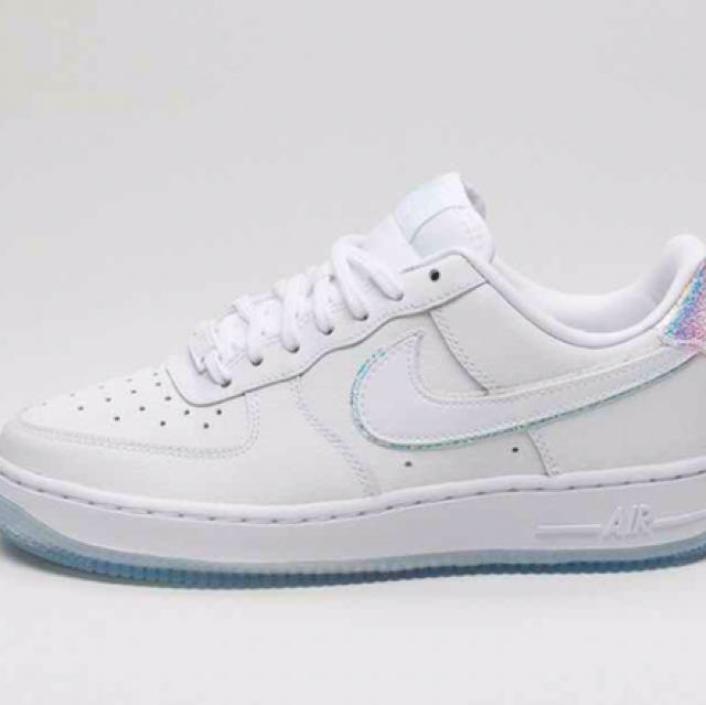 sale retailer 23fd7 9a67e Nike Wmns Air Force 1 Hologram White Blue Tint, Women s Fashion, Shoes on  Carousell