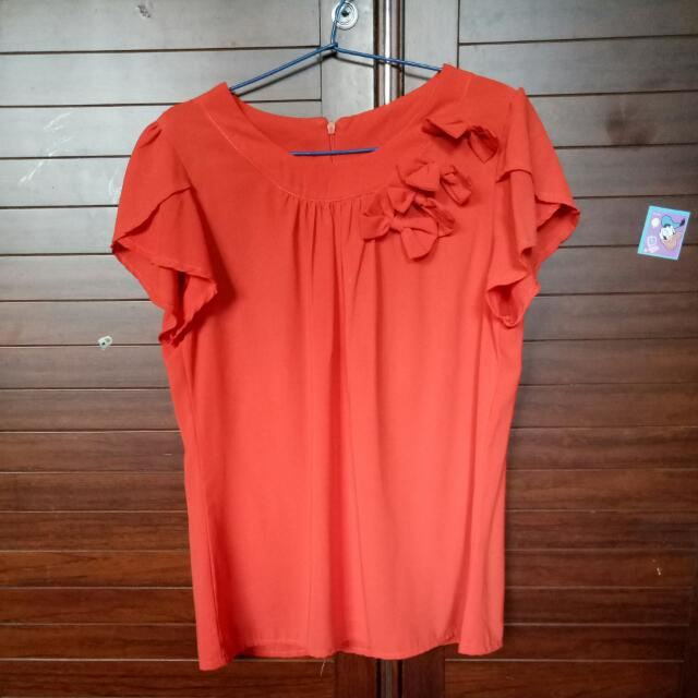 Orange Bow Korean Shirt