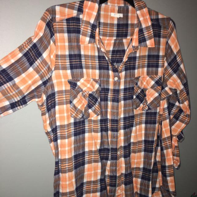Orange Plaid Open Back Shirt Size 16