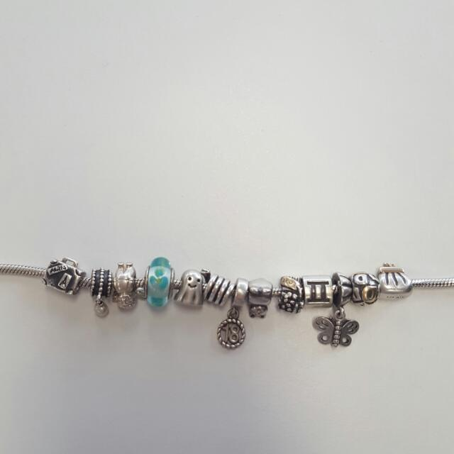 Pandora Silver Bracelet And 13 Charms