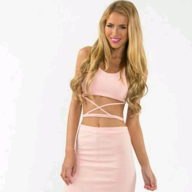 Peach Pink Formal Set With Crop Top And Maxi Skirt BNWT