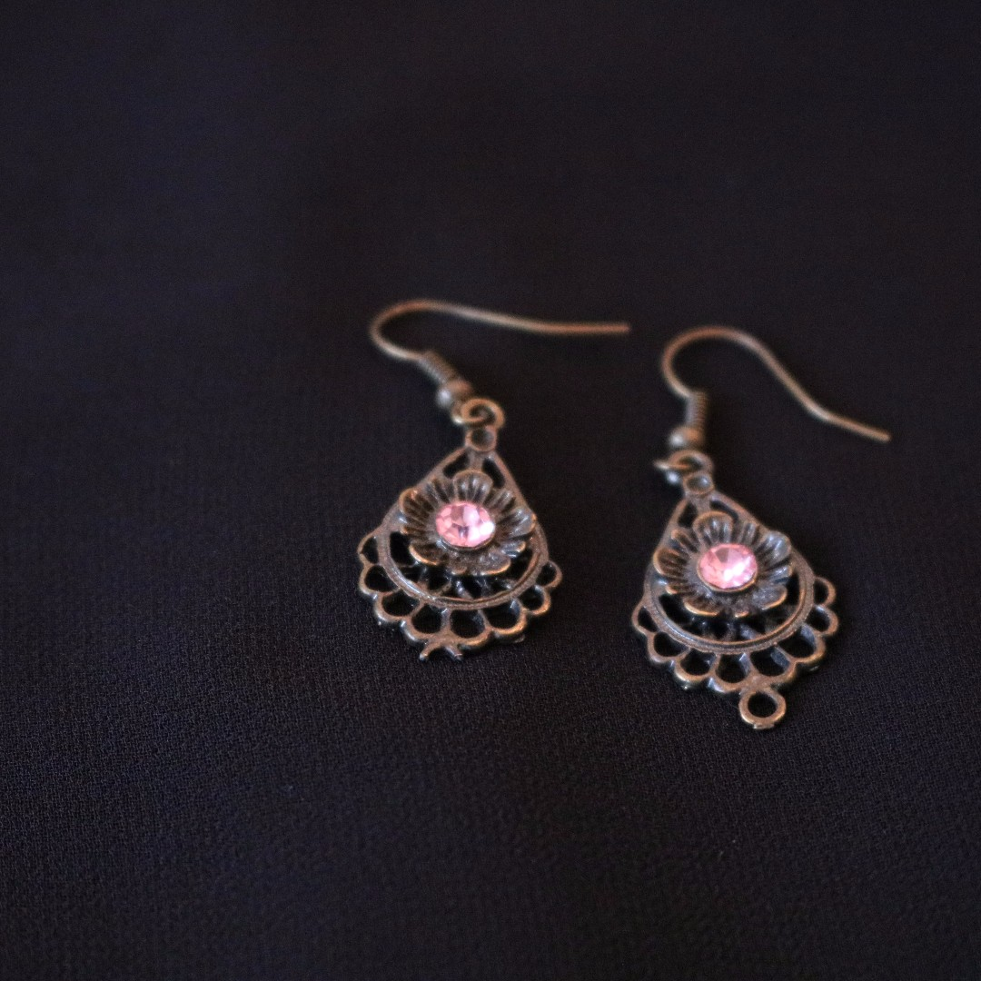 Pink Gem Earrings