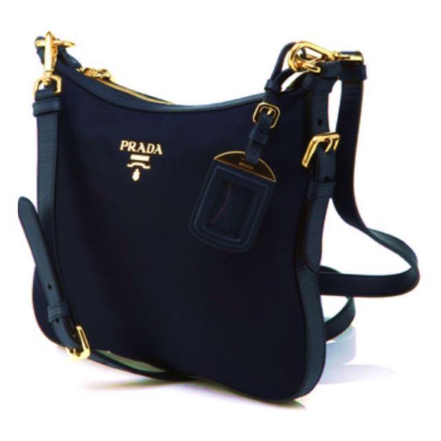 Prada Navy Blue Nylon Sling Bag