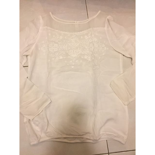 Promod White Embroidery Beaded Top