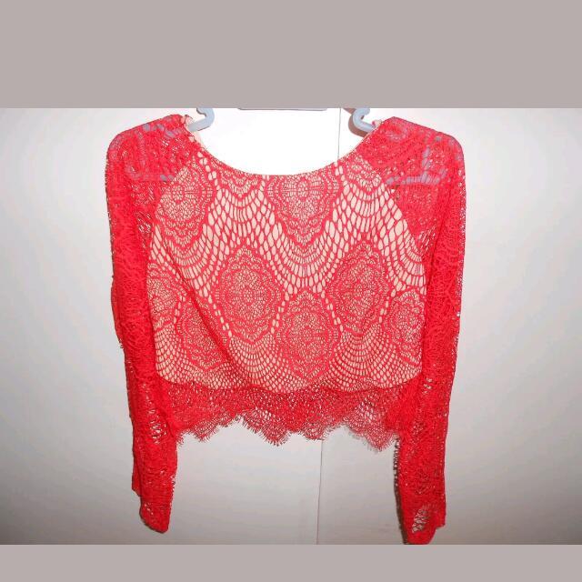 Red/burnt Orange Long Sleeve Lace Crop Top BMWT