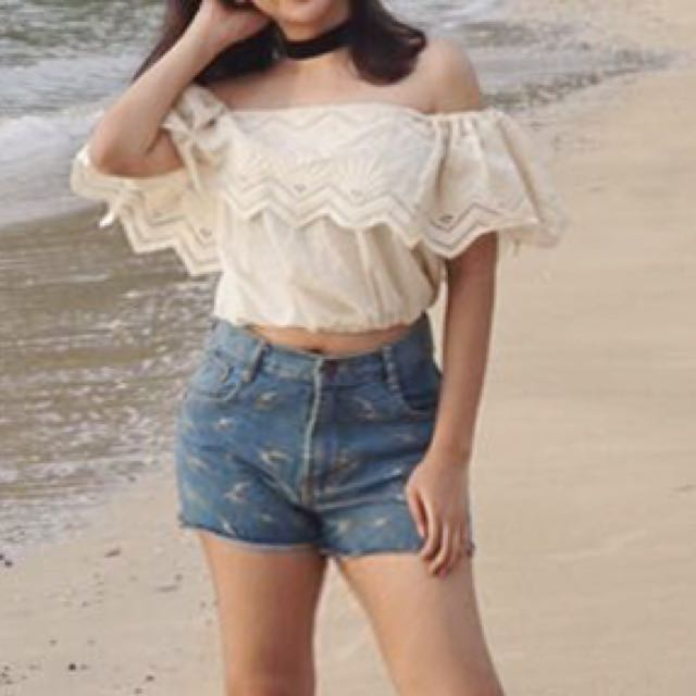 Sabrina Cropped Broken White Top