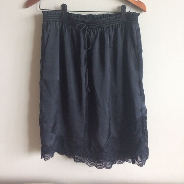 Satin + Lace Skirt - Size Small