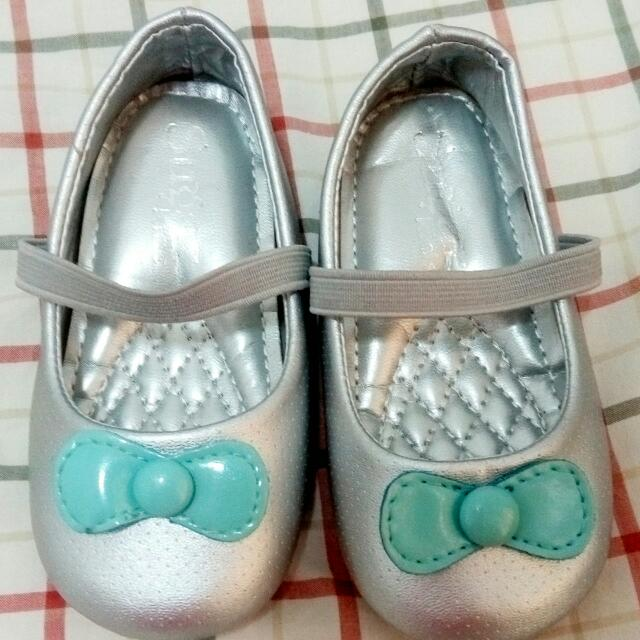 Silver Shoes  W/ Green Ribbon