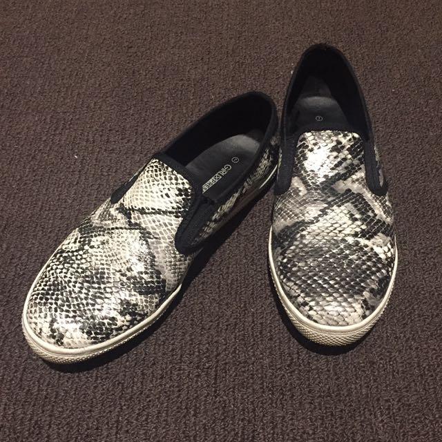 Size 7 - Slip On Black White Shoes