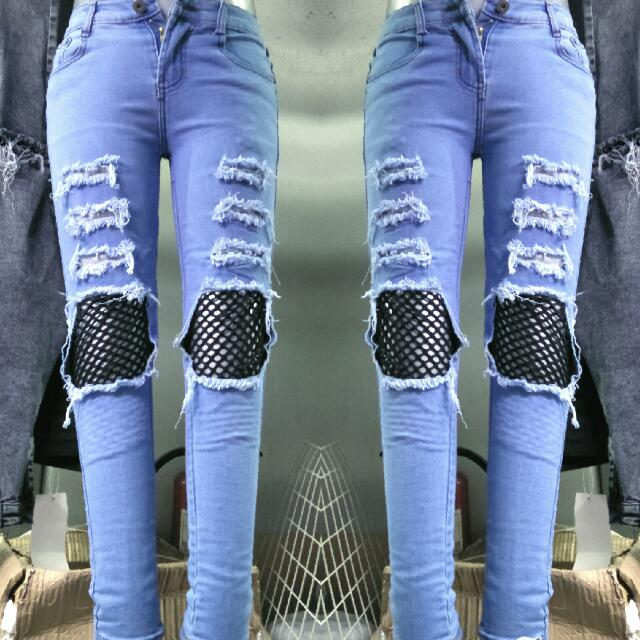 skinny jean (fish net styled)