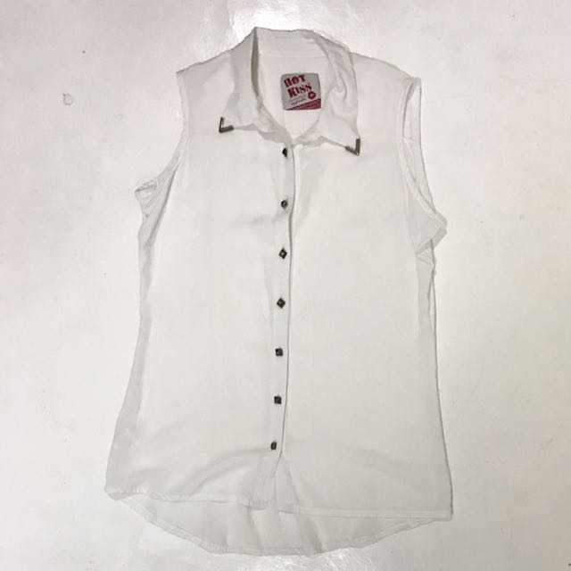 Sleeveless White Polo