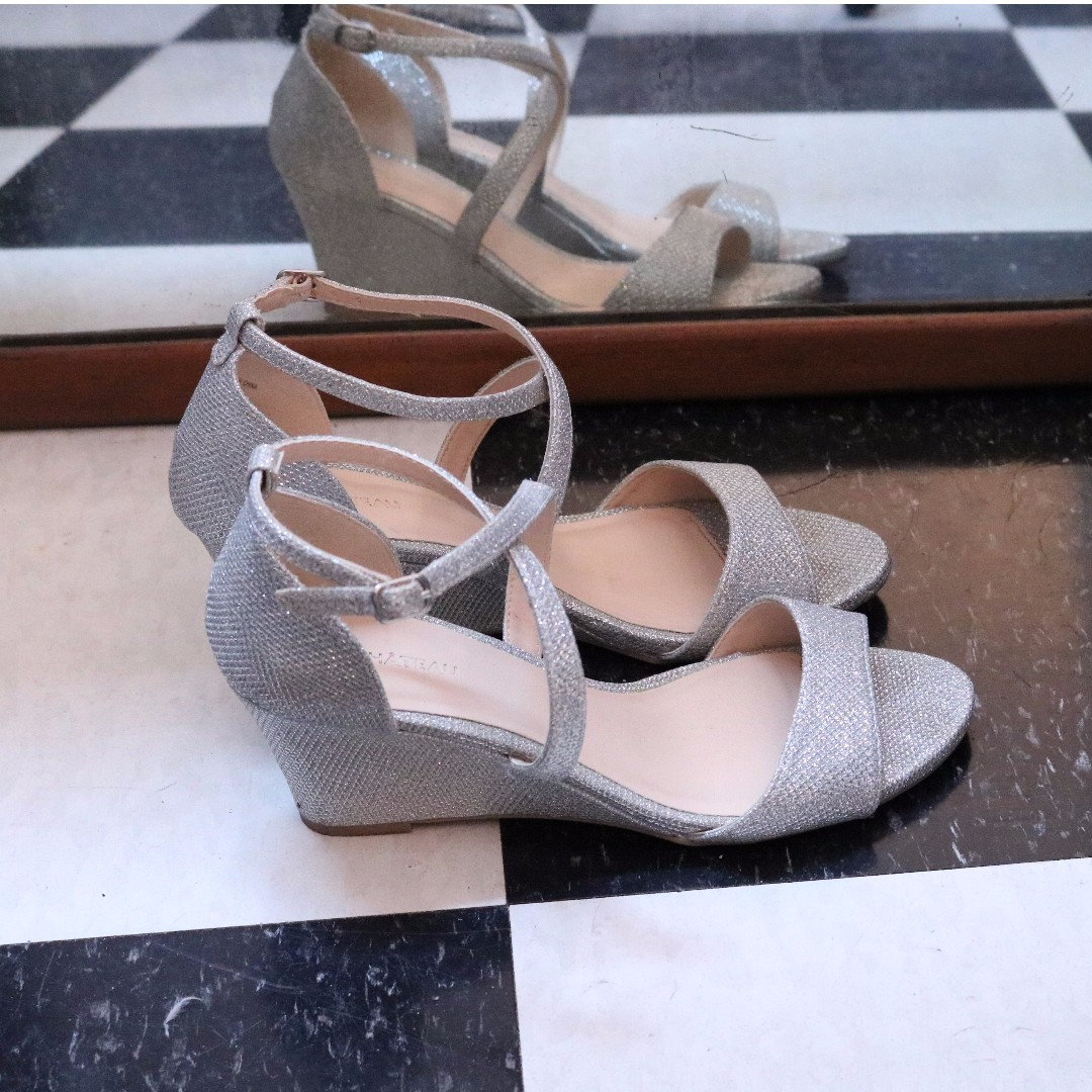 Sparkly Silver Wedge Heels