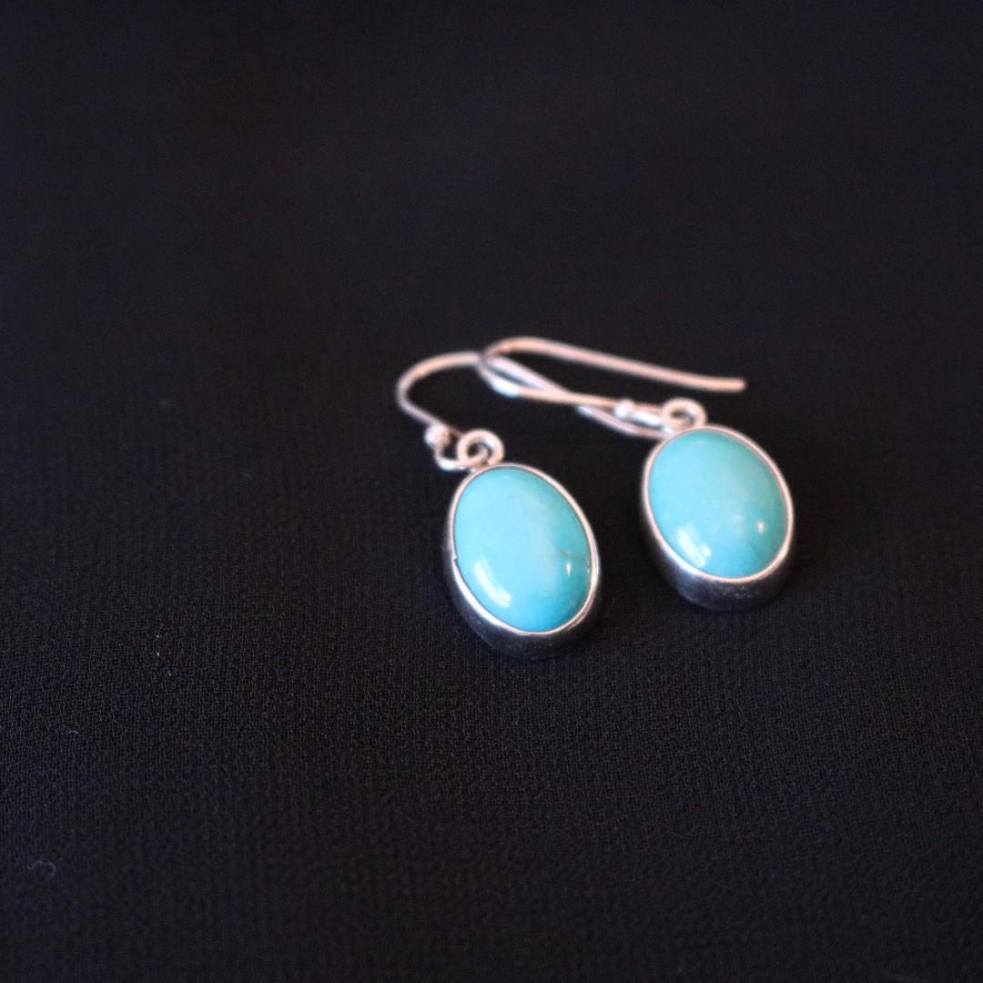 Sterling Silver Blue Stone Dangle Earrings