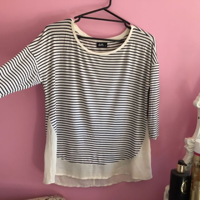 Striped 3/4 Long Sleeved Shirt