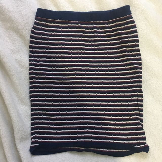 Striped Knit Bodycon Skirt