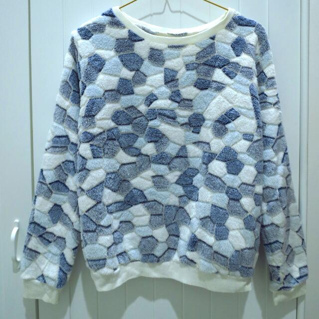 Sweater White-Blue