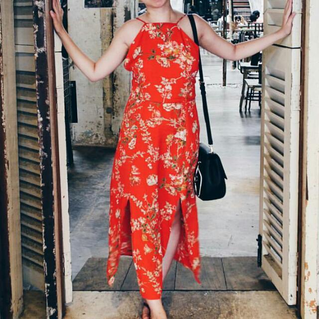 Topshop Orange/Eastern/Oriental Floral Midi Slip Dress
