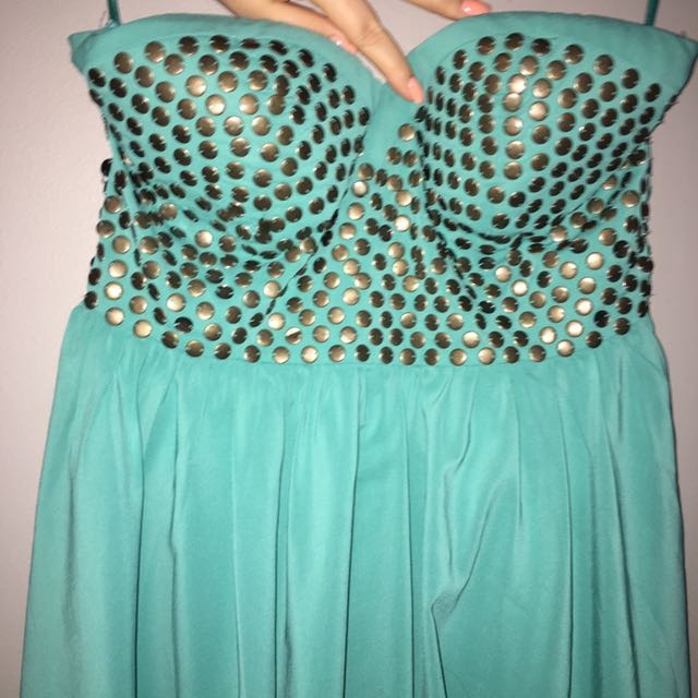 Turquoise Strapless Dress Size L