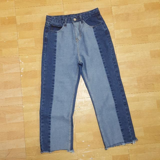 Two Tonw Highwaist Denim Pants