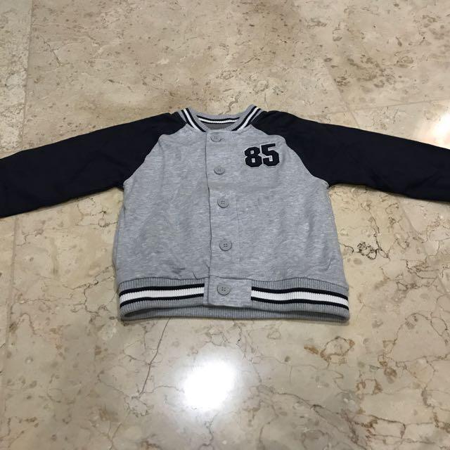 Varsity Jacket Mothercare Size 3-4Y Warna Abu-abu
