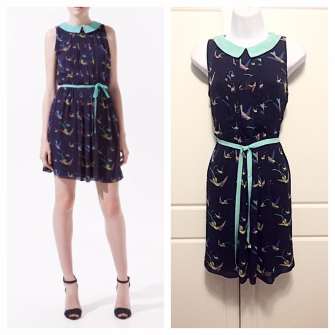 zara navy bird dress