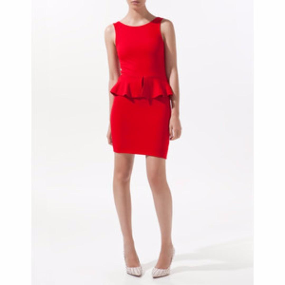 Zara red dress peplum