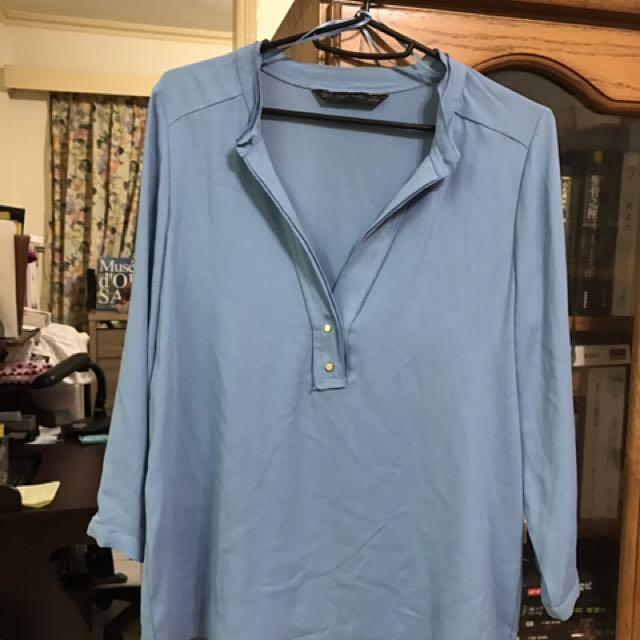 Zara 氣質藍色紗質上衣xs