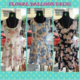 FLORAL BALLOON DRESS [ONHAND]