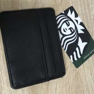 Pull & Bear Leather Card Holder Black