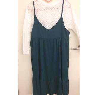 墨綠色背心吊帶裙