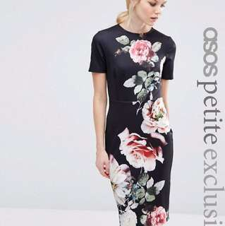 ASOS PETITE Black Floral Bodycon Dress