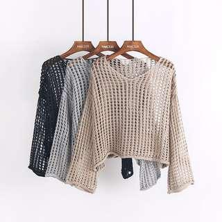 氣質復古鏤空網格蝙蝠袖針織衫