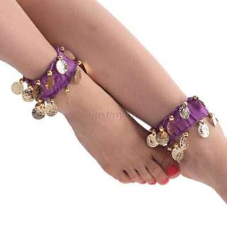 Belly Dance Anklets Dangling Coins Gypsy Tribal Bracelet Purple
