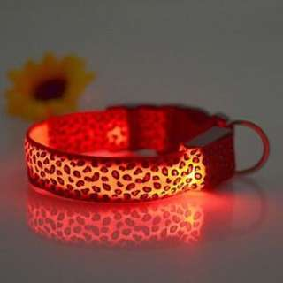 Leopard Pattern Size L Pet Dog Puppy Safety LED Light Up Collar