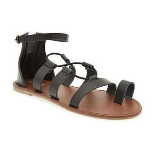 OLD NAVY Faux Leather Toe Strappy Sandals Gladiator Style