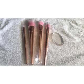 Rose Gold Brush Set (free Molly Cosmetics Silisponge)