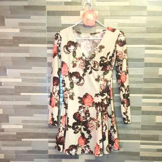 Dress Floral Cream (Korean Dress)