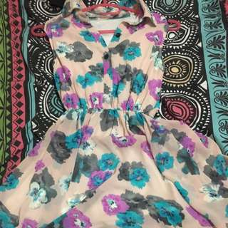 Pink Floral Dress with Colar