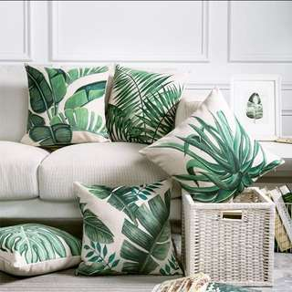 Tropical Leaf Print Cushions X 2