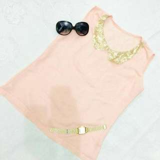 Peach Glittery Top / Small