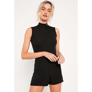 Missguided Black High Neck Sleeveless Ribbed Playsuit