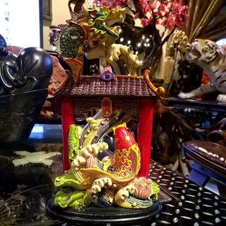 Unique Chinese Feng Shui Piece.. Dragon..  Gold Fish