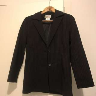 Black With Red Pin Strip Suit Jacket