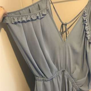 Blue Off Shoulder Playsuit