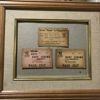 Vintage Framed Three Cathay Organisation, Ruby Cinema Tickets, 1966. Three 'Musts' in Singapore.