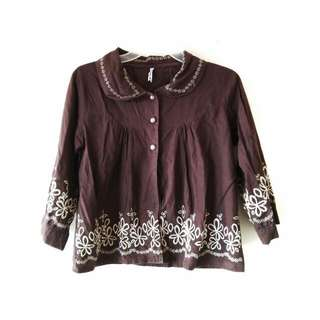 BROWN EMBROIDERY OUTER
