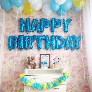 Happy Birthday Letter Foil Balloon Set