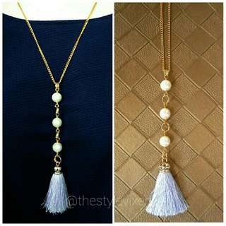 Triple Pearl Necklace With Silk Tassel