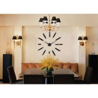 3D DIY Giant Wall Clock 80 - 130 CM - black / Jam dinding